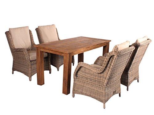 Trendy-Home24 5tlg. Essgruppe Sitzgruppe 150 x 80 cm Teakholz hochwertiges Polyrattan Sessel Sitzgruppe Teaktisch Gartenmöbel grau beige