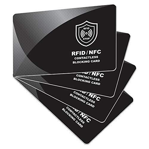 RFID Blocker Karte - NFC Schutzkarte - Störsender - Kreditkarten Schutz | Blockierkarten für Geldbörse, Cliphalter, Bankkarte, Ausweise, Reisepass | Geschenk für Frauen und Männer | 4 Stück