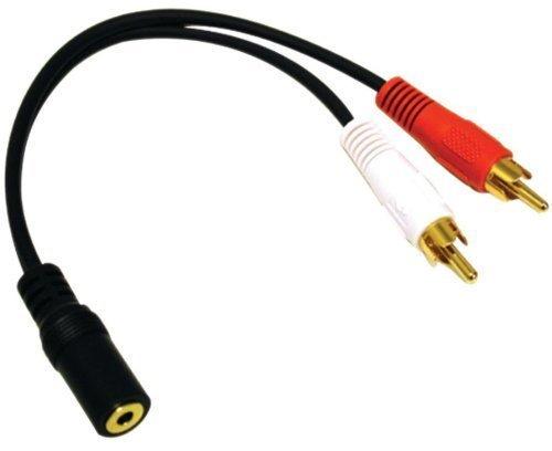 XCSSKG 2 unidades de 3,5 mm 6 pulgadas estéreo hembra mini jack a 2 conectores RCA macho adaptador de audio y cable