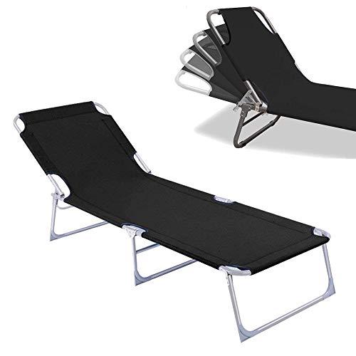 Froadp Lettino a Sdraio Sedie da Giardino Pieghevoli da Spiaggia Lettino da Relax per Giardino Famiglia 188x56x27cm (Nero)