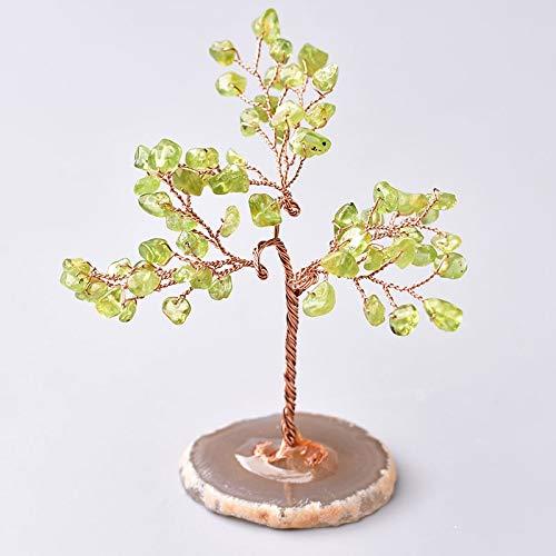 ACEACE Natürlicher Kristallbaum Amethyst Rosen-Quarz-Aquamarin Glück-Dekoration Achatscheiben Stein Mineral Ornament Bürodekor (Color : Olivine)