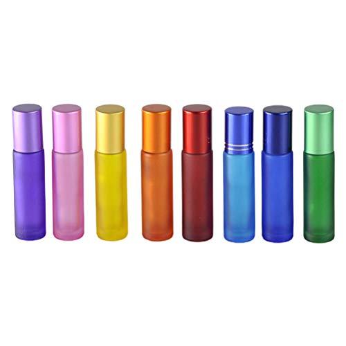 EXCEART 12 botellas de aceites esenciales con rodillo para perfume, loción cosmética, aromaterapia, hogar y viajes, 10 ml, multicolor