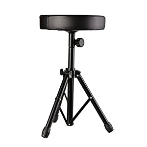 Aceshin Drum Throne Seat Stool Adjustable Height Anti-Slip Support Soft Cushion for Music Show (Black)