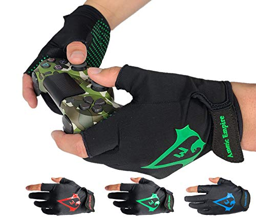 Americ Empire Pro Fingerless Gaming Gloves for Sweaty Hands 【As Seen...