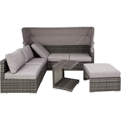 TecTake 800771 Aluminium Poly Rattan Lounge Set, 16-teilig, wetterfest, Garten Sofa mit Sonnendach, Outdoor Sitzgruppe inkl. Kissen und Beistelltisch - Diverse Farben - (Grau | Nr. 403237) - 7