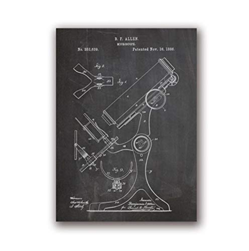 YQQICC Pharmacy Microscope Science Poster Vintage Chemistry Wall Art Decor Science Teacher Gift Art Canvas Painting Picture - 45x60cm Unframed