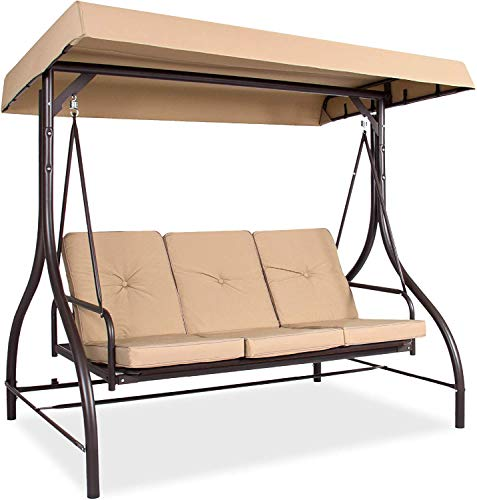 3 Person Large Patio Swing Seat with Adjustable...