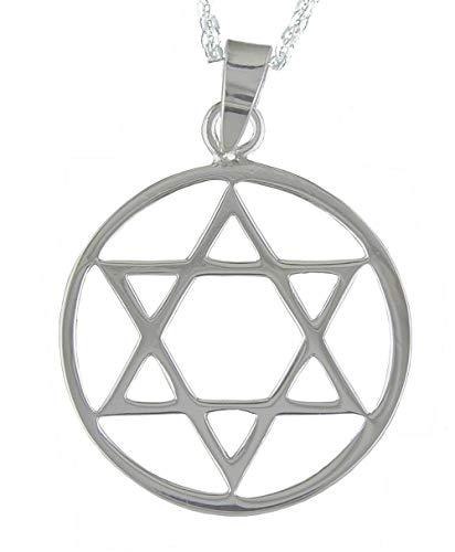 Alylosilver Collar Colgante Estrella de David de Plata para Hombre Mujer con Cerco - Incluye una Cadena de Plata de 40 cm y un Estuche para Regalo