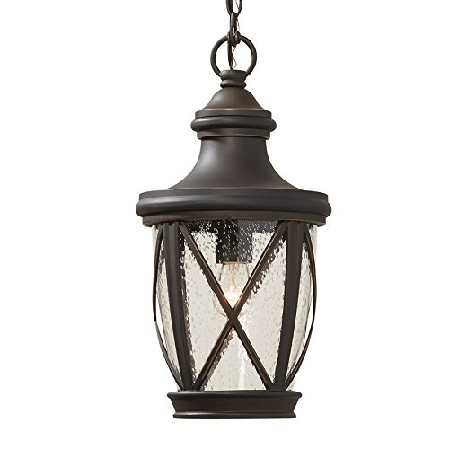allen + roth Castine Rubbed Bronze Single Traditional Seeded Glass Cylinder Pendant