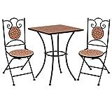 Festnight 3 pz Set Bistrò Tavolo Sedie da Giardino Sedie a Mosaico Rotonda Bistro da Esterno con Pieghevoli Sedia per Balcone