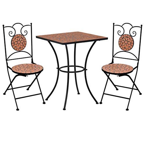 vidaXL Set Bistrò 3 pz con Mosaico Robusto Elegante Tavolo e Sedie per Esterni Arredi da Giardino Patio in Ceramica Terracotta Telaio in Ferro