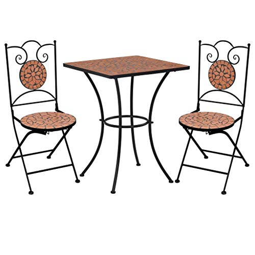 Tidyard 3 Piece Mosaic Bistro Set | Ceramic Tile Design Table and Folding Chairs | Garden Bar Table Set Terracotta