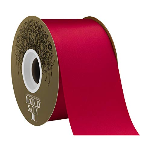 Berwick Offray 2.5' Polyester Lustre Satin Ribbon, Holiday Red, 50 Yards