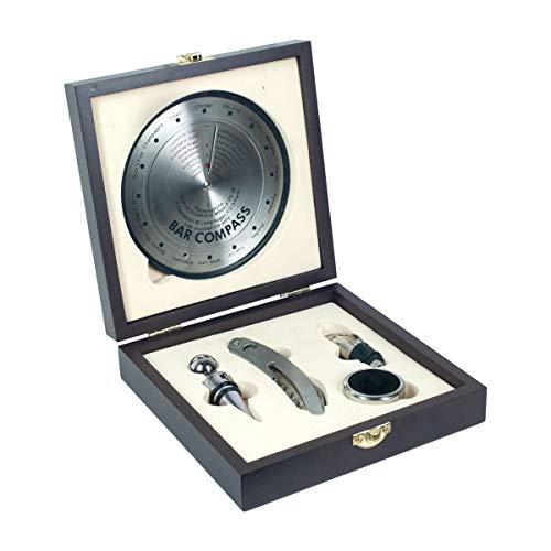 Caja con Set de Vino Decorativo de Madera y Metal con 4 Accesorios. Sacacorchos. Tapón. Abrebotellas. Regalos Originales. Menaje de Cocina. Decoración Hogar. 18 x 18 x 5 cm