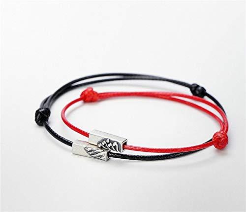 Moutain Y Mar A Solemne Promesa De Amantes del Amor Pulseras S925 Silver Chinese Style Dos Piezas Joyería Étnica Ajustable yangain (Color : One Red One Black)