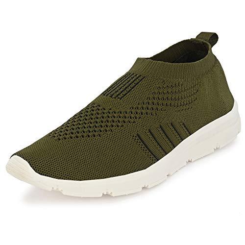 Bourge Men's Vega-8 Olive Running Shoes-9 UK (43 EU) (10 US) (Vega-8-09)