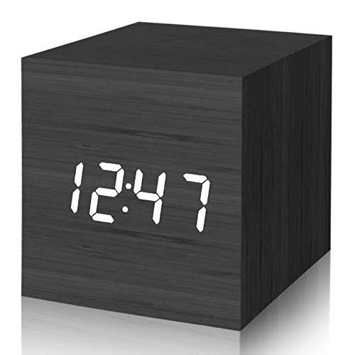 SANBLOGAN LED Wecker Digital Holz, Holz Wecker Uhr Modern Tischuhr Reisewecker Alarm Clock mit Sprachsteuerung/Snooze Funktion/Datum/Temperatur und Luftfeuchtigkeit, für Zuhause Schlafzimmer Büro