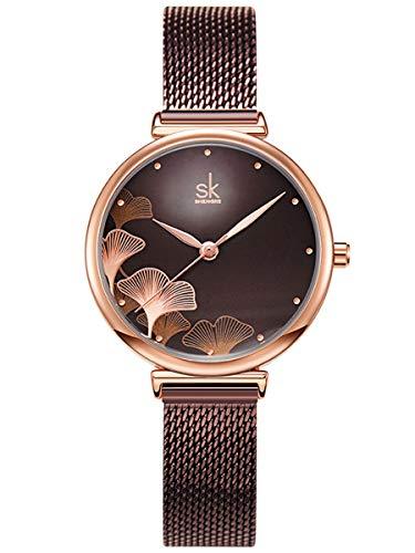 Alienwork Damen-Armbanduhr Quarz Rose-Gold mit Metall Mesh Armband Edelstahl braun elegant