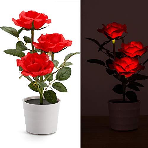 Solar Blumentopf LED Licht - Rose Flower Tischlampe mit 3 LED Blumen - Garten Outdoor Rasen Pflanzen Home Schlafzimmer Dekorative Nachttisch Bonsai Lichter(rot)