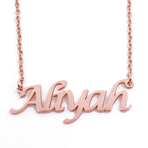 Kigu Aliyah - Collar con nombre personalizable y cadena ajustable, chapado en oro rosa de 18 quilates, incluye embalaje de regalo