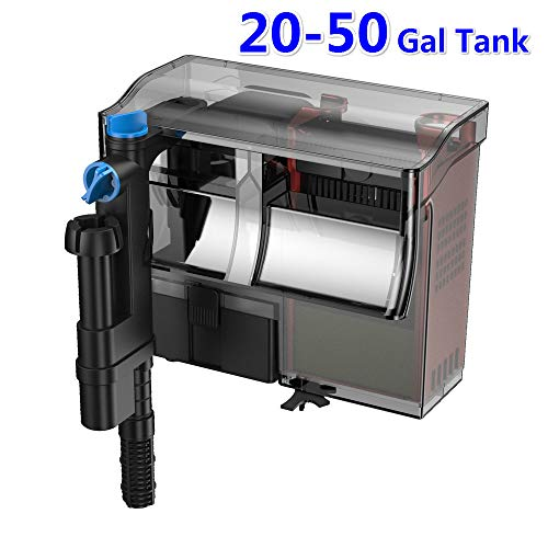YCTECH 20-50 Gallon Aquarium Fish Tank Hang Filter with Surface Skimmer 3 Stage Water Air Skim Filter Pump, 211 GPH Adjustable/Flow Biological Filtration Oxygen Circulation Wall Mounted Filter