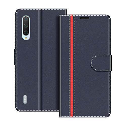 COODIO Handyhülle für Xiaomi Mi 9 Lite Handy Hülle, Xiaomi Mi 9 Lite Hülle Leder Handytasche für Xiaomi Mi 9 Lite Klapphülle Tasche, Dunkel Blau/Rot