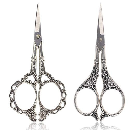 BIHRTC Scissors 4.5 Inch Small Sewing Scissors Plum Blossom Scissors and European Style Scissors Stainless Steel Shears for Cross Stitch Cutting Embroidery Sewing Handcraft Craft Silver Scissors