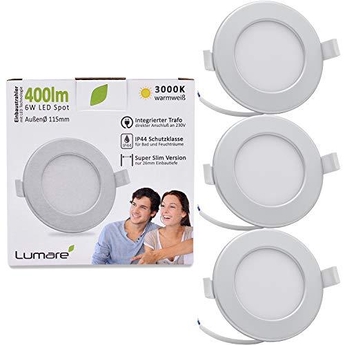Lumare LED Einbaustrahler 6W 230V IP44 Ultra flach 3er Set Wohnzimmer, Badezimmer Einbauleuchten silber rund 26mm Einbautiefe Mini Slim Decken Spot warmweiß