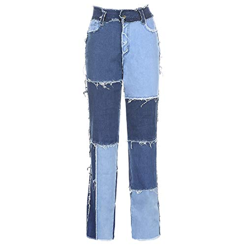 Mosiolya - Damenjeans Patchwork hohe Taille Stretch Farbblock gerade Form(Schwarz Braun, XXL) Gr. Small, blau