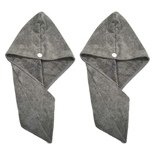 Polyte - Toalla turbante para el pelo - Microfibra - Gris oscuro - 31 x 71cm - Pack de 2