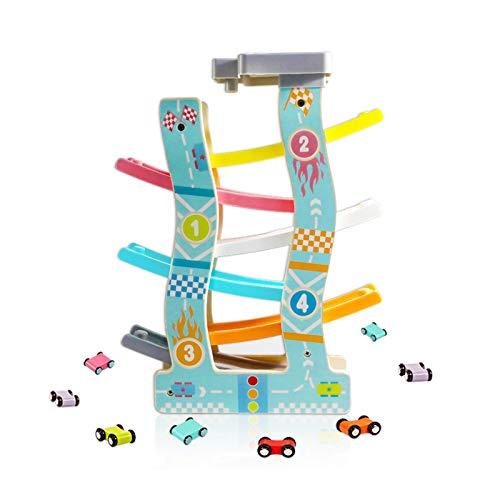 WFF Spielzeug Holzschienengleiter Spielzeug - Kleinkind Parkplatz Garage Inklusive 6/8 Racing Cars, mit Doppel Acceleration Orbit (Color : 6-Track)