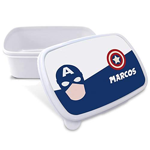Caja Merienda Superhéroes Personalizada con Nombre. Regalo Friki. Vuelta al Cole. Varios Diseños a Elegir. Capitán América