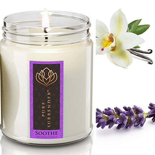 Soothing Lavender Vanilla Aromatherapy Scented Candles for Home | 100% Pure Essential Oils | Non Toxic Long Lasting Soy Candles | 9 oz Jar | Hand Made in The USA