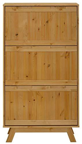 Loft 24 A/S Schuhregal Schuhkipper Schuhschrank Schuhkommode Flur Kiefer Massivholz Diele Flur (gebeizt geölt, 3 Klappen)
