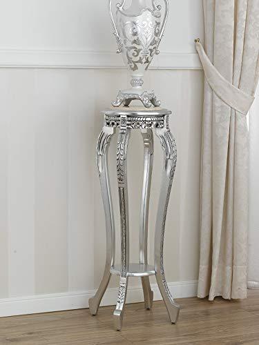 SIMONE GUARRACINO LUXURY DESIGN Sellette Ronde Gaila Style Baroque Moderne Petite Table Porte-Pots Feuille Argent marbre crème
