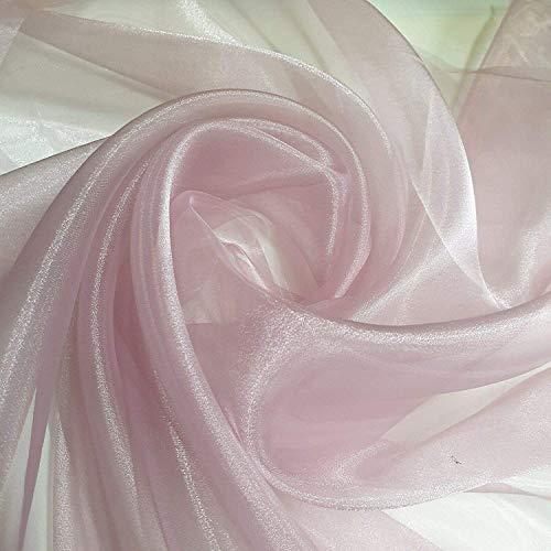Textile Station Durchsichtiger Organza-Stoff, Voile, Vorhang, Hochzeitsstoff, 150 cm, Organdie Meterware (über 25 Farben) (staubiges Pink, 2 Meter)