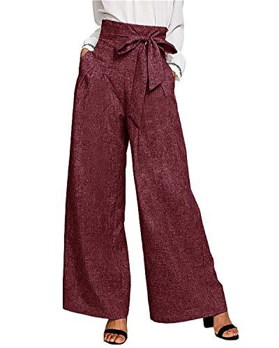 CNFIO Pantalones Mujer Elegantes Casuales de Cintura Alta de Mujeres Pantalón con cinturón de Cintura Alta Decorado con Lazo