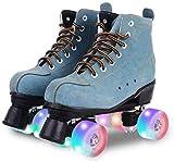 Patines de alta calidad para mujer, clásicos, con 4 ruedas, patines de velocidad brillante, para niños, niñas, hombres, adultos, unisex, con bolsa de zapatos (rueda azul Flash, EE.UU.: 10)