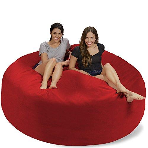 Chill Sack Bean Bag Chair: Giant 7' Memory Foam Furniture Bean Bag - Big Sofa with Soft Micro Fiber Cover - Red Pebble