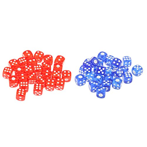 SM SunniMix 50Pcs/Set Acrylic Six Sided Dice D6 12mm Table Board Game for DND Gaming Toy