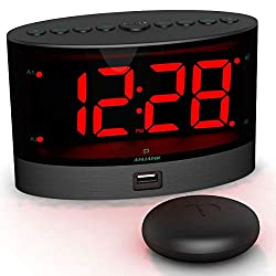 ANJANK Loud Alarm Clock with Wireless Bed Shaker, Powerful Vibrating Alarm Clock for Heavy Sleepers and Hard of Hearing, Large Number Display with Dimmer, Dual Alarm and USB Charger Port for Bedroom