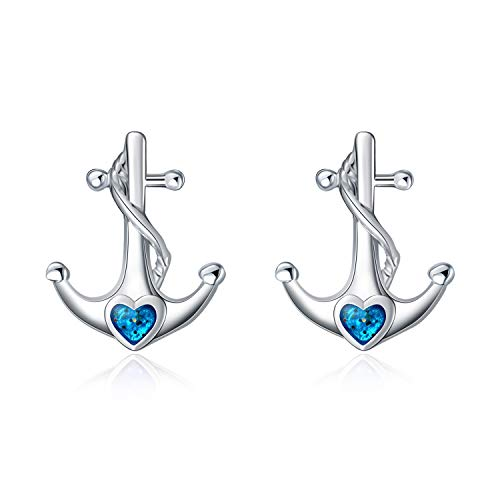 925 Sterling Silver Nautical Anchor Stud Earrings Blue Anchor Stud for Women Girls Gift