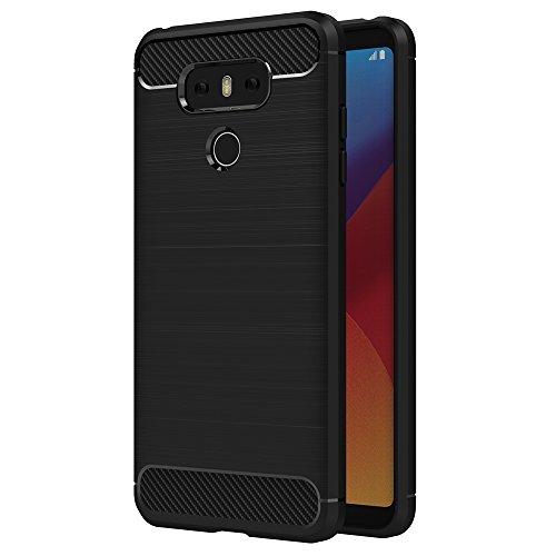 AICEK LG G6 Hülle, Schwarz Silikon Handyhülle für LG G6 Schutzhülle Karbon Optik Soft Hülle (5,7 Zoll)
