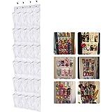 AidShunn Shoe Racks Over Door Shoe Organiser Hanging Storage 24 Transparent Pockets Foldable Wardrobes Closet White