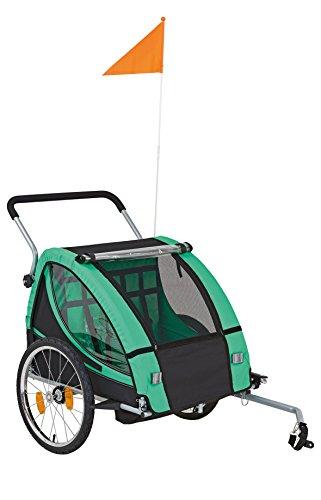 Prophete Transport Anhänger mit 20 Zoll Speichen Laufrädern Kindertransportanhänger, Grün/Schwarz, M
