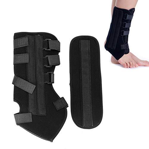 Ginocchiera stabilizzatore caviglia, cavigliera stringata, stecca regolabile regolabile in pelle di vitello con cuscinetti magici, supporto tibiale traspirante e confortevole per uomo donna(L)