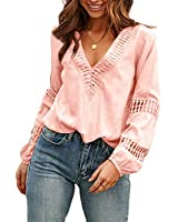 Viracy Women's Cute Fall Lace Crochet V Neck Flowy Bell Long Sleeve Blouses, Solid Casual Loose Button Down T Shirts Tops(Large, Pink)