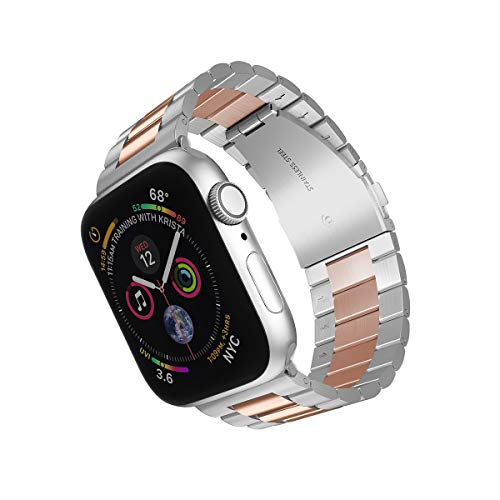 ARTCHE Stainless Steel Replacement Watch Band Compatible with Apple Watch 42mm, 44mm Men Women Strap Bracelet, Adjustable Smart Watch Sport Wristband for Series SE/6/5/4/3/2/1 - Middle Rose Gold