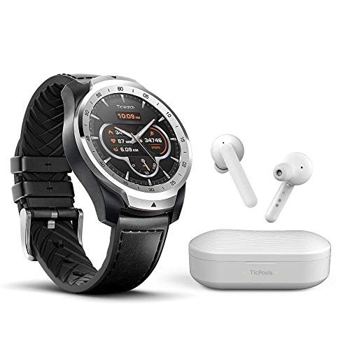 Ticwatch Pro Plus TicPods Free Bundle, andriod Smart Watch for Men,Wear OS Google Watch, True Wireless Earbuds for Free