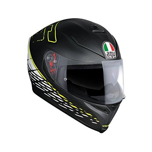 AGV Casco Moto Integrale K-5 S E2205 Top Plk, Thorn 46 Nero Matt/Bianco/Giallo, Taglia L